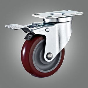 Medium Duty Caster Series - PU (without Cover) Top Plate Caster - Total Lock