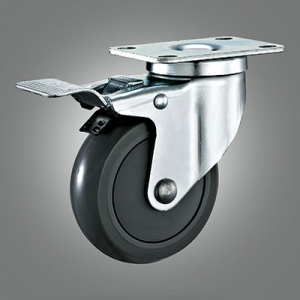 Medium Duty Caster Series - PU (with Cover) Top Plate Caster - Total Lock