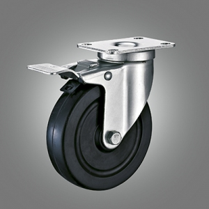 Medium Duty Caster Series - Rubber Top Plate Caster - Total Lock