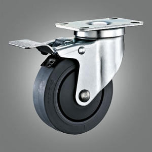Medium Duty Caster Series - TPR (Flat) Top Plate Caster - Total Lock