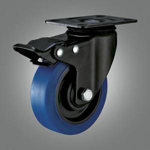 Medium Light Duty Caster Series - TPR (Flat) Top Plate Caster - Total Lock