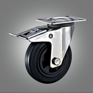 Industrial Caster Series - Rubber (PP Core) Top Plate Caster - Total Lock