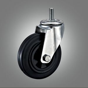 Industrial Caster Series - Rubber (PP Core) Threaded Stem Caster - Swivel