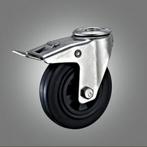 Industrial Caster Series - Rubber (PP Core) Hollow Rivet Caster - Total Lock