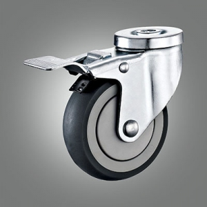 Medium Duty Caster Series - TPR (Round) Hollow Rivet Caster - Total Lock