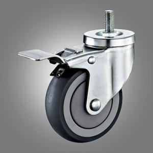 Medium Duty Caster Series - TPR (Round) Threaded Stem Caster - Total Lock