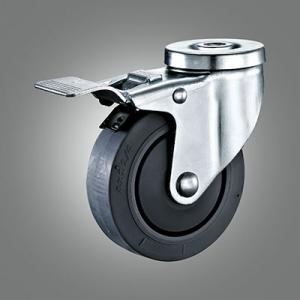 Medium Duty Caster Series - TPR (Flat) Hollow Rivet Caster - Total Lock