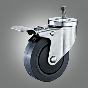 Medium Duty Caster Series - TPR (Flat) Threaded Stem Caster - Total Lock