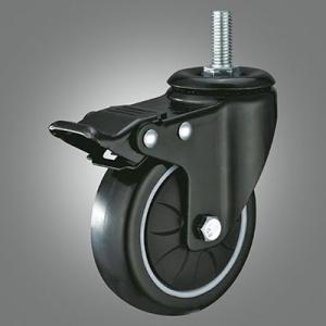 Medium Light Duty Caster Series - PU Threaded Stem Caster - Total Lock