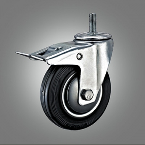 Industrial Caster Series - Rubber (Steel Core) Threaded Stem Caster - Total Lock