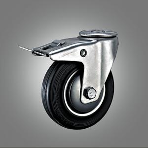 Industrial Caster Series - Rubber (Steel Core) Hollow Rivet Caster - Total Lock