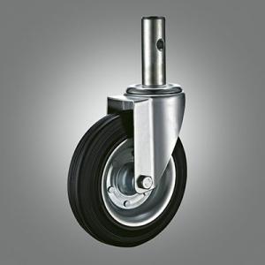 Industrial Caster Series - Rubber (Steel Core) Solid Stem Caster - Swivel