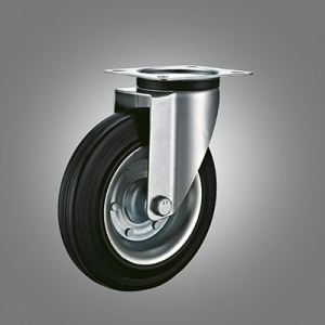 Industrial Caster Series - Rubber (Steel Core) Top Plate Caster - Swivel