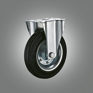 Industrial Caster Series - Rubber (Steel Core) Top Plate Caster - Rigid