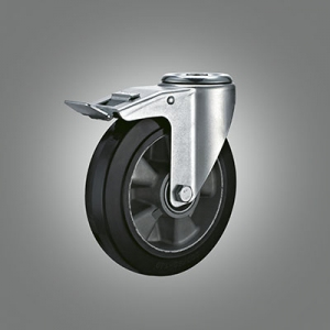 Industrial Caster Series - Rubber (Aluminium Core) Hollow Rivet Caster - Total Lock