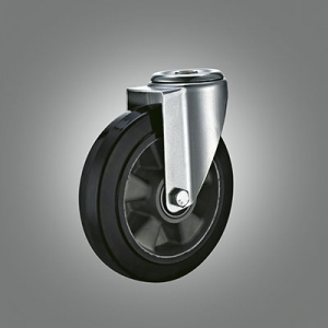 Industrial Caster Series - Rubber (Aluminium Core) Hollow Rivet Caster - Swivel
