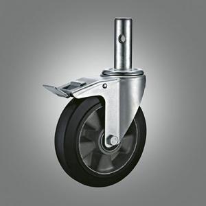 Industrial Caster Series - Rubber (Aluminium Core) Solid Stem Caster - Total Lock