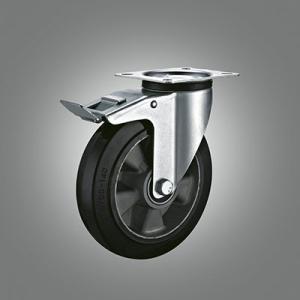 Industrial Caster Series - Rubber (Aluminium Core) Top Plate Caster - Total Lock