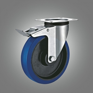 Industrial Caster Series - Elastic Rubber (PP Core) Top Plate Caster - Total Lock