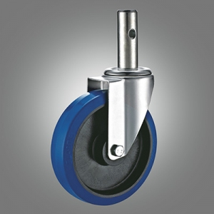 Industrial Caster Series - Elastic Rubber (PP Core) Solid Stem Caster - Swivel