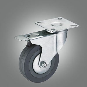 Light Duty Caster Series - Gray Rubber Top Plate Caster - Total Lock