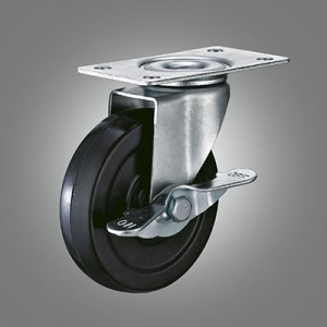 Light Duty Caster Series - Rubber Top Plate Caster - Side Lock