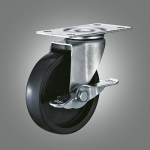 Light Duty Caster Series - Black PP Top Plate Caster - Side Lock