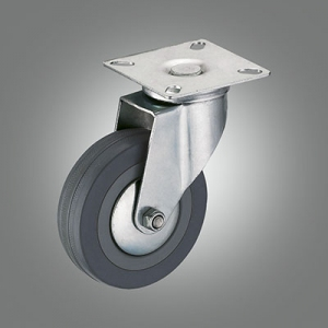 Light Duty Caster Series - Gray Rubber Top Plate Caster - Swivel