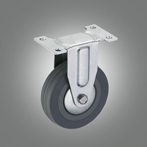 Light Duty Caster Series - Gray Rubber Top Plate Caster - Rigid