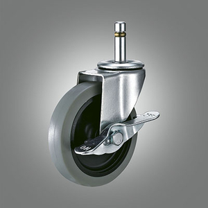 Light Duty Caster Series - TPR Grip Ring Stem Caster - Side Lock