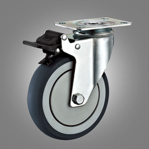 Medium Duty Caster Series - Dual Pedal Type TPR Top Plate Caster - Total Lock