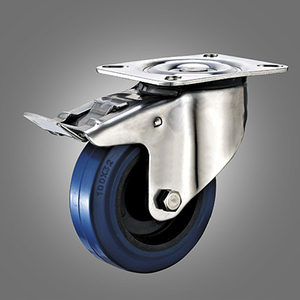 Stainless Steel Caster Series - European Industrial Elastic Rubber Top Plate Caster - Total Lock