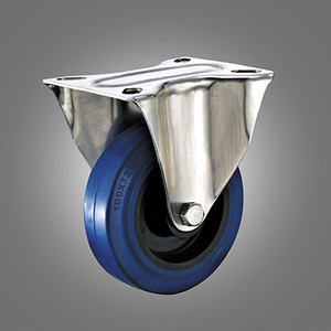 Stainless Steel Caster Series - European Industrial Elastic Rubber Top Plate Caster - Rigid