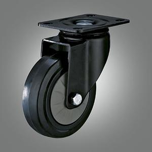 Medium Light Duty Caster Series - Elastic Rubber Top Plate Caster - Swivel