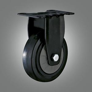 Medium Light Duty Caster Series - Elastic Rubber Top Plate Caster - Rigid