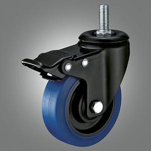 Medium Light Duty Caster Series - TPR (Flat) Threaded Stem Caster - Total Lock