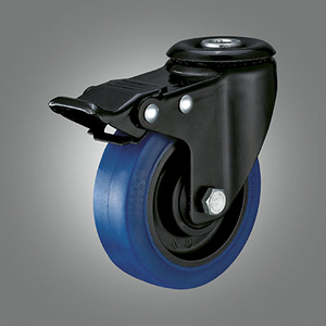 Medium Light Duty Caster Series - TPR (Flat) Hollow Rivet Caster - Total Lock