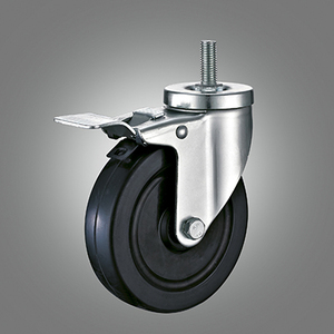 Medium Duty Caster Series - Rubber Threaded Stem Caster - Total Lock