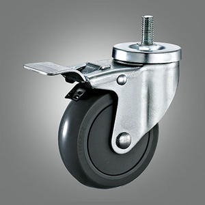 Medium Duty Caster Series - PU (with Cover) Threaded Stem Caster - Total Lock
