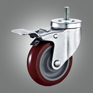 Medium Duty Caster Series - PU (without Cover) Threaded Stem Caster - Total Lock